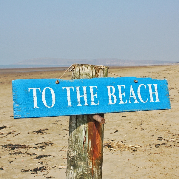 To The Beach - Wooden Sign