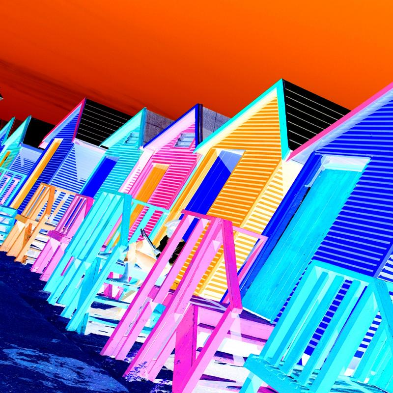 Colours Unreal | Photo Art Canvas | Beach Huts | Clive Sawyer