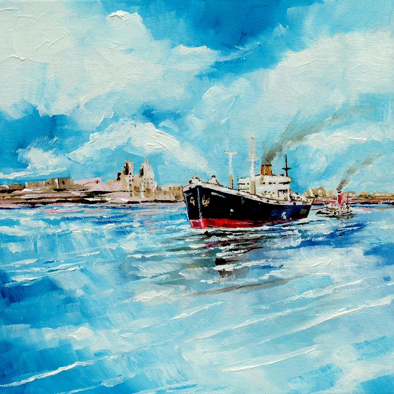 Steamer in Port  Painting