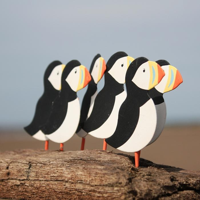 A Circus of Puffins on Driftwood | Decorative Puffin Block