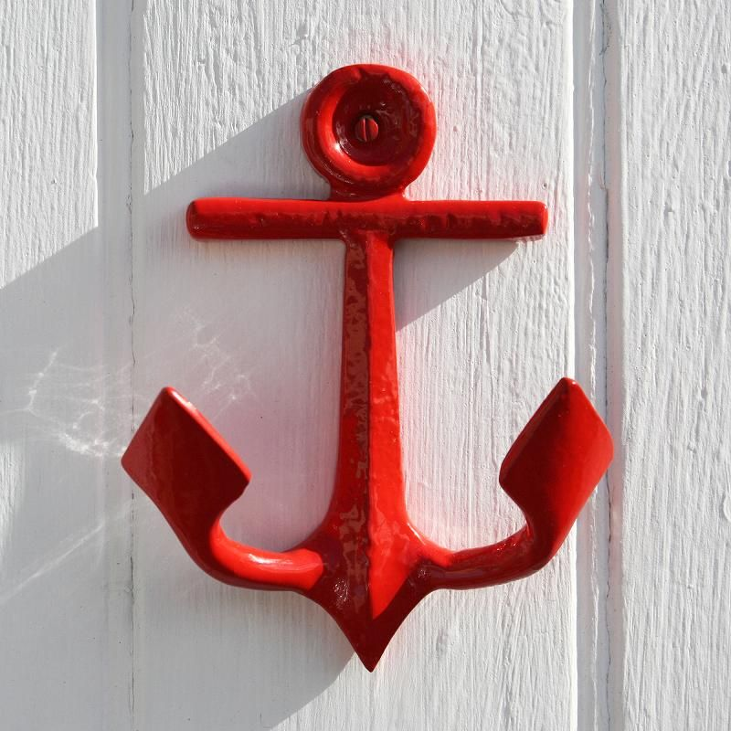 Anchor Wall Hook Red | Nautical Metal Hook