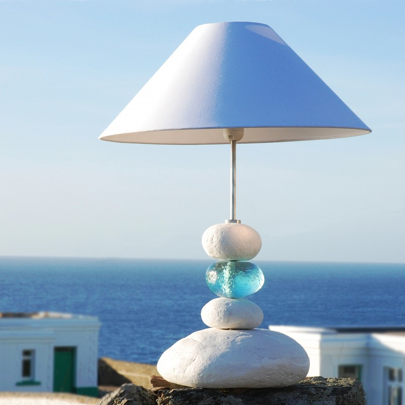 Aquamarine Ocean Wave Table Lamp | Pebble Table Lamp | Beach Lamp