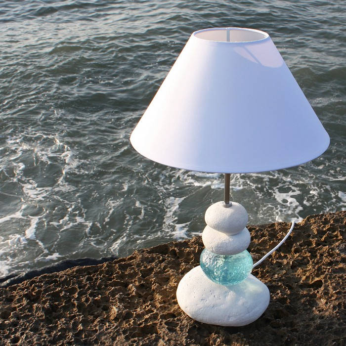 Aquamarine Shoreline Pebble Lamp