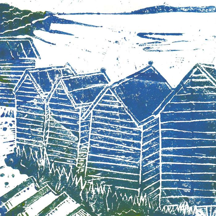 Beach Hut One - Lino Print