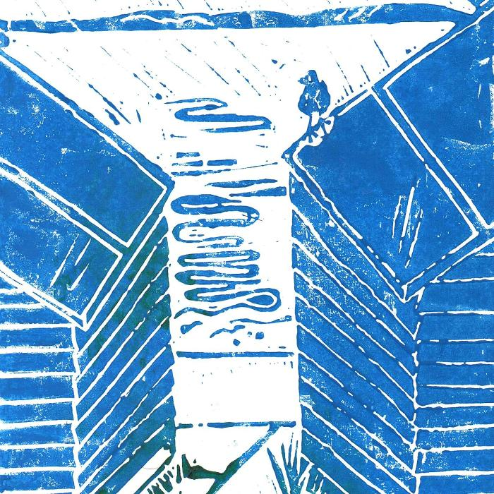 Beach Hut Two - Lino Print