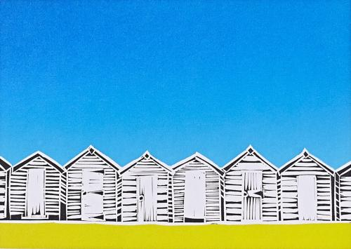 Beach Huts Yellow Greeting Card