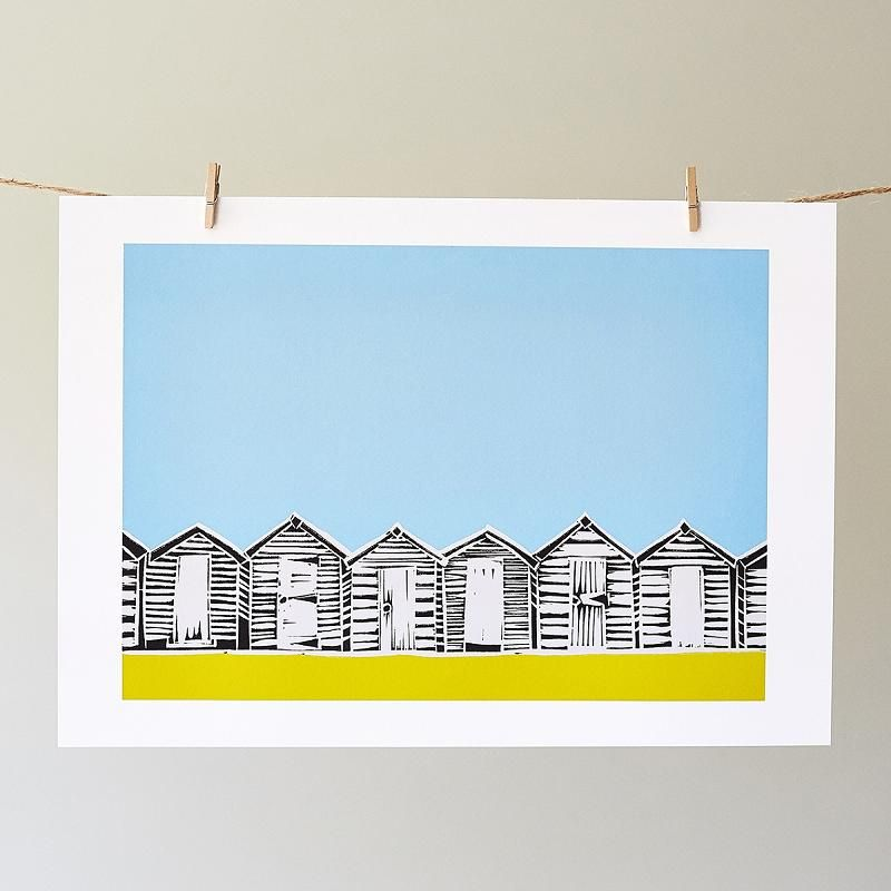 Beach Huts Yellow Print | Giclee Print | Sophie Mutter