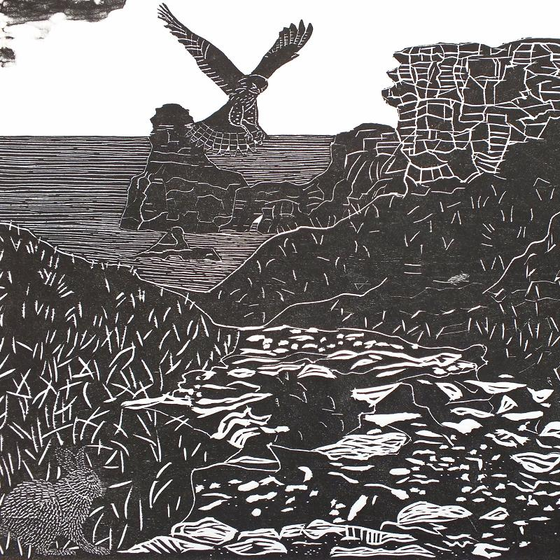 Coastal Path – Woodcut Print