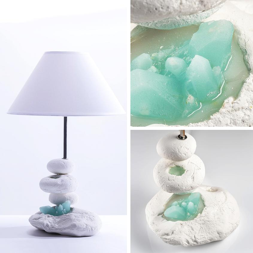 Coastal Pebble Lamp - Aqua Rock Pool