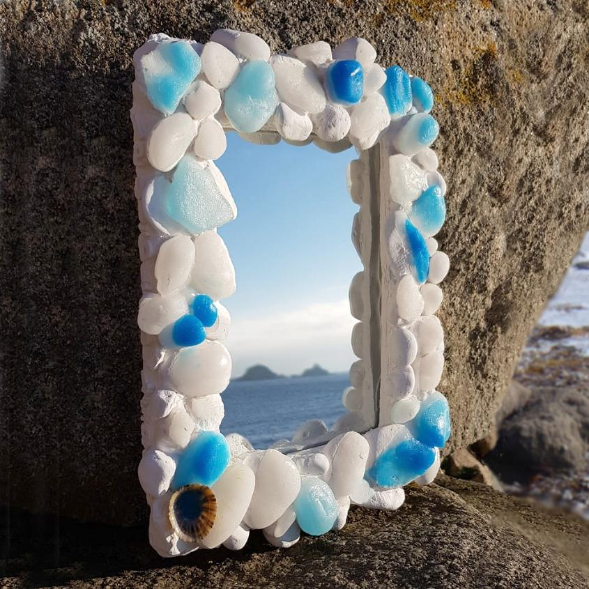 Coastal Pebble Mirror – Blue Onyx