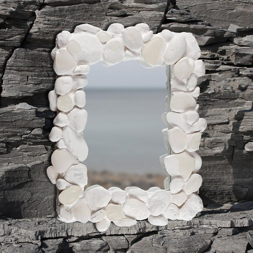 Coastal Pebble Mirror – White
