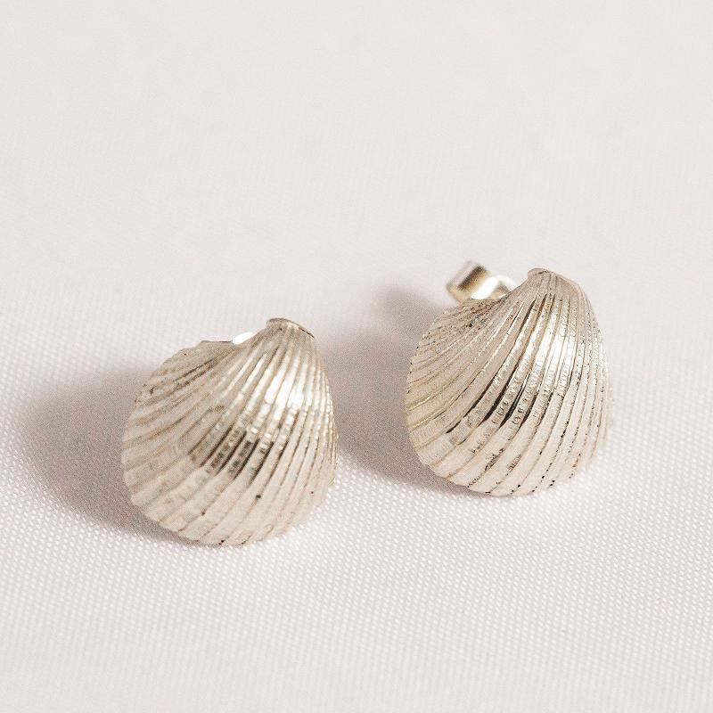 Cockle Shell Stud Earrings | Silver Shells | Sarah Adams