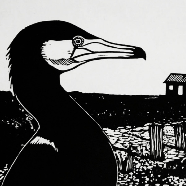 Cormorant Red Hut - Linocut