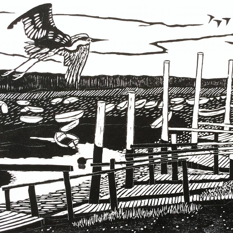 Creek | Woodcut Print | Valerie Sims