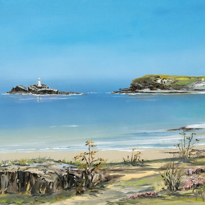 Godrevy Lighthouse & Sea Pinks - print