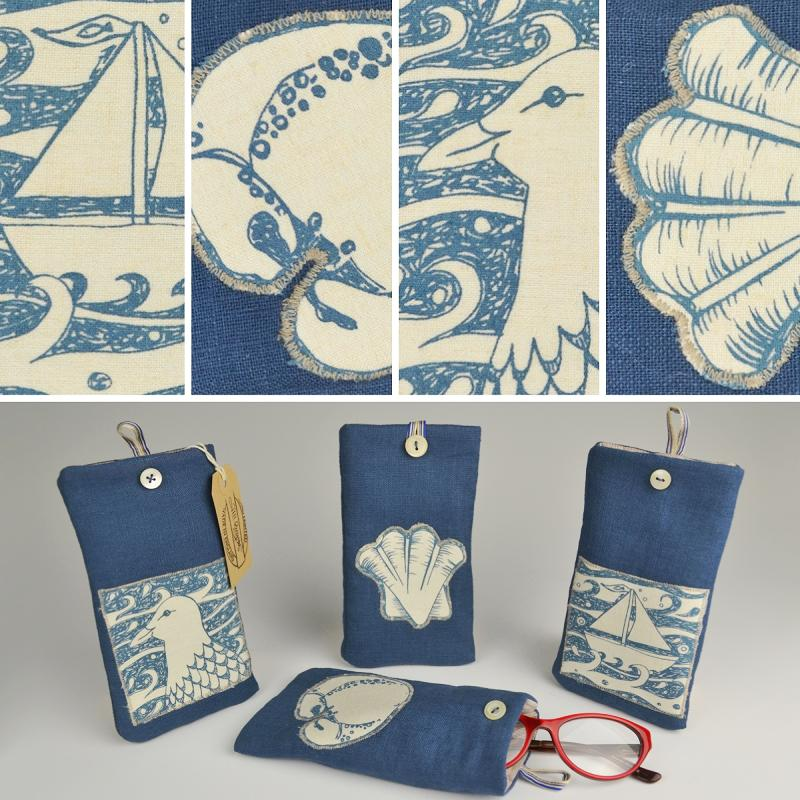 Hand Printed Linen Glasses Case
