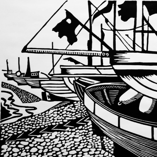 Hastings Beach - Linocut