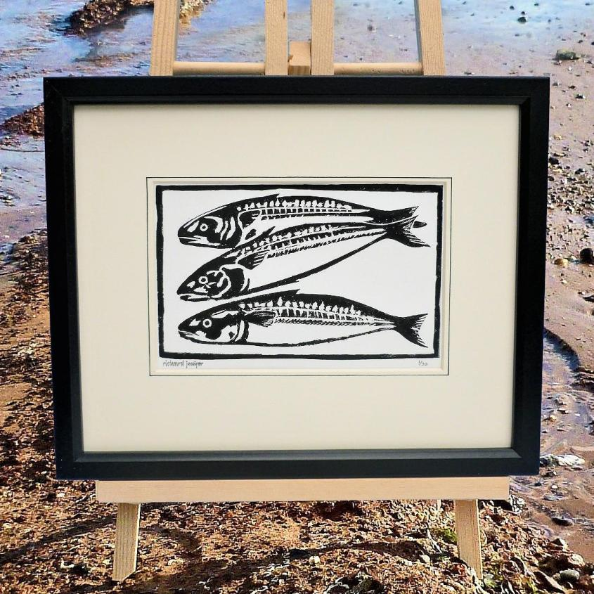 Mackerel Fish Linocut Print  | Limited Edition