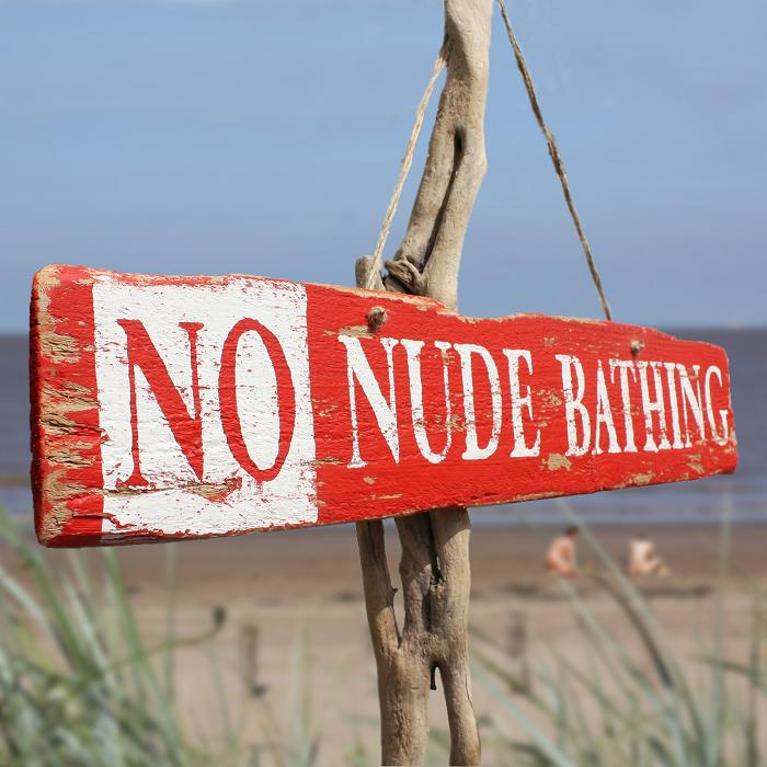 No Nude Bathing Wooden Sign | Beach Sign