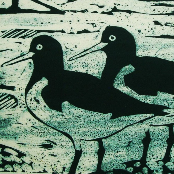 Oystercatchers at the Ness | Linocut | Lino Print