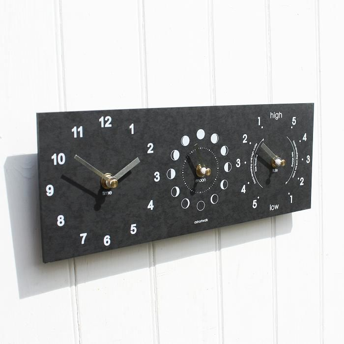 Recycled Moon Phase Time & Tide Clock | Wall Clocks