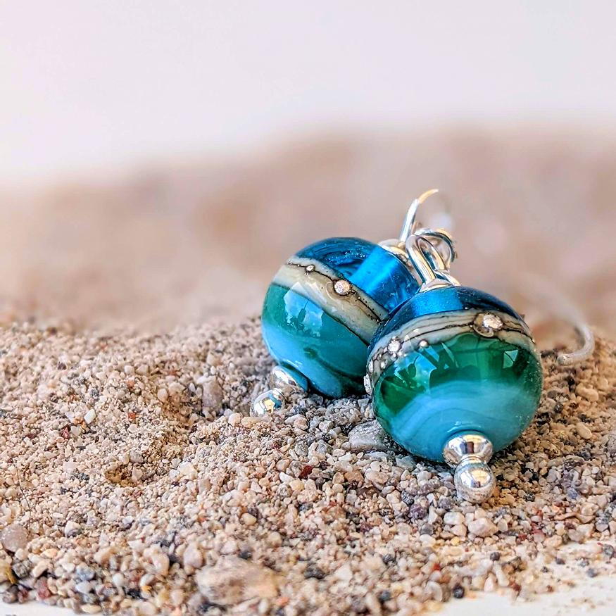 Round Deep Blue Sea Earrings | Glass Jewellery | Julie Fountain