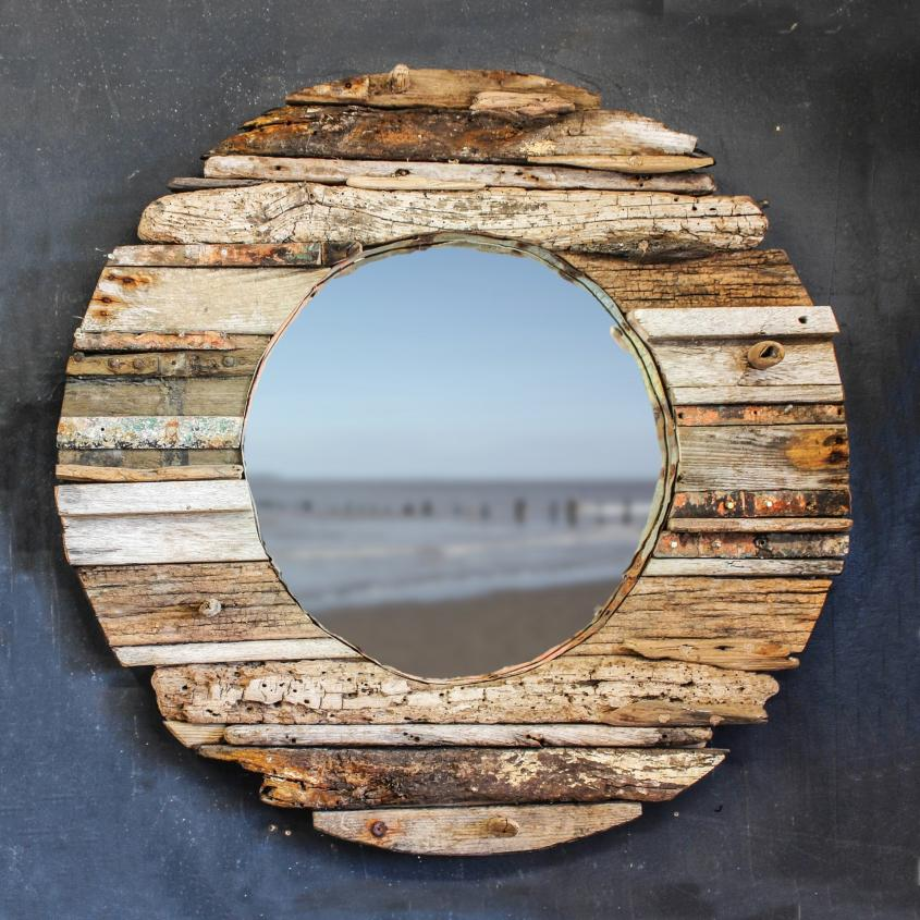 Round Driftwood Mirror No: One