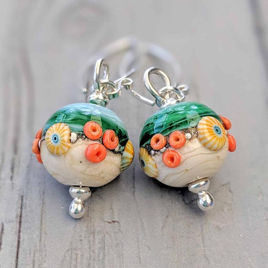 Round Lampwork Glass Earrings
