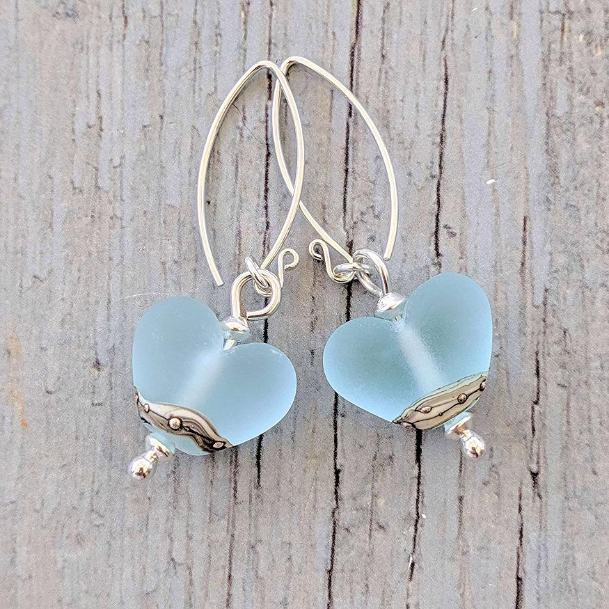 Sea Spray Heart Shaped Earrings | Glass Jewellery | Julie Fountain