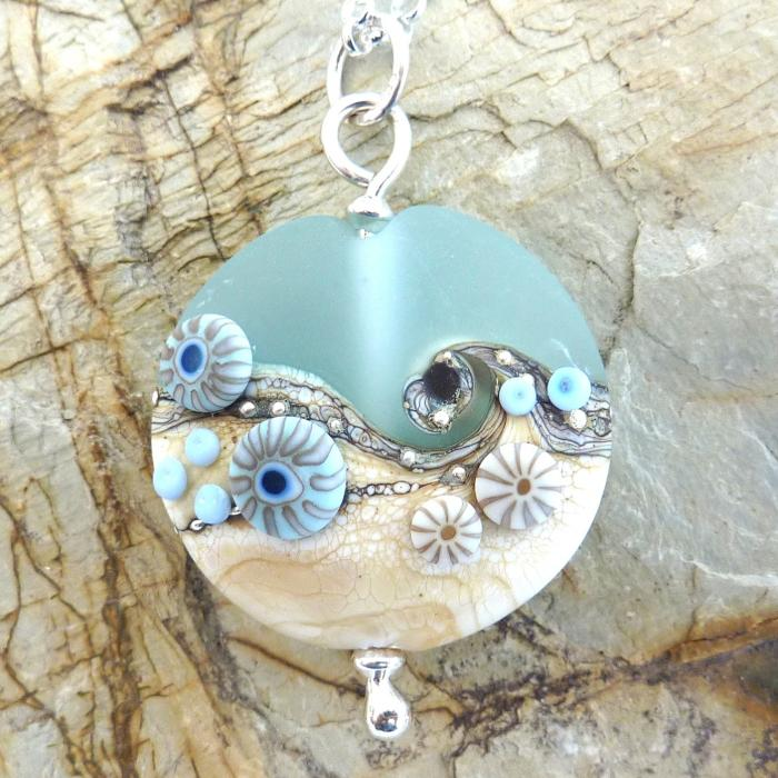 Sea Spray Round Pendant Necklace | Glass Jewellery | Julie Fountain