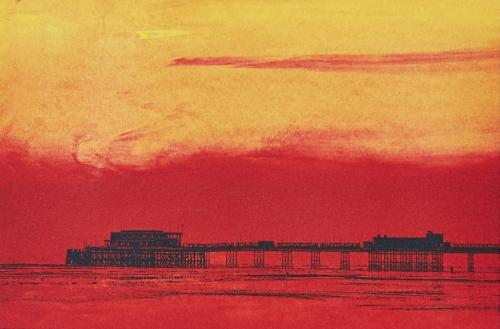 Sunset at Worthing Pier Greeting Card | Ed Watts