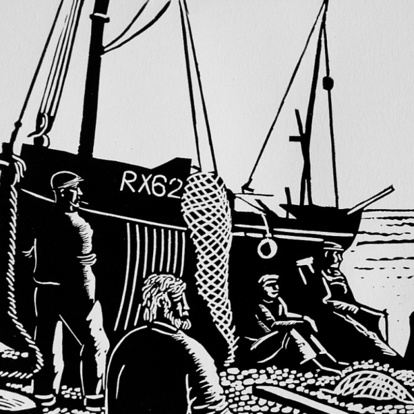 Waiting on the Tide - Linocut