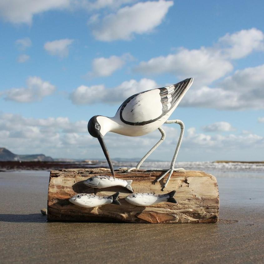 Wooden Avocet Fishing | Hand Carved Bird by Archipelago