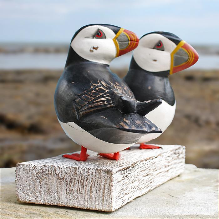 Wooden Puffin Pair | Hand Carved Wooden Puffins | By Archipelago