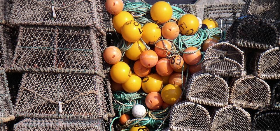Coastal Greeting Card Department - image of lobster pots and floats