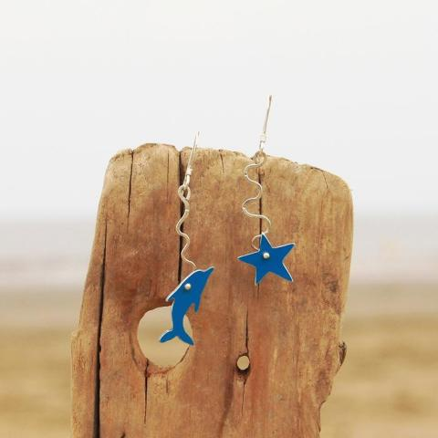 dolphin and starfish earrings